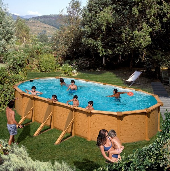 Piscina elevada ovalada mauritius 730x375x132 piscinas gre for Piscina elevada madera