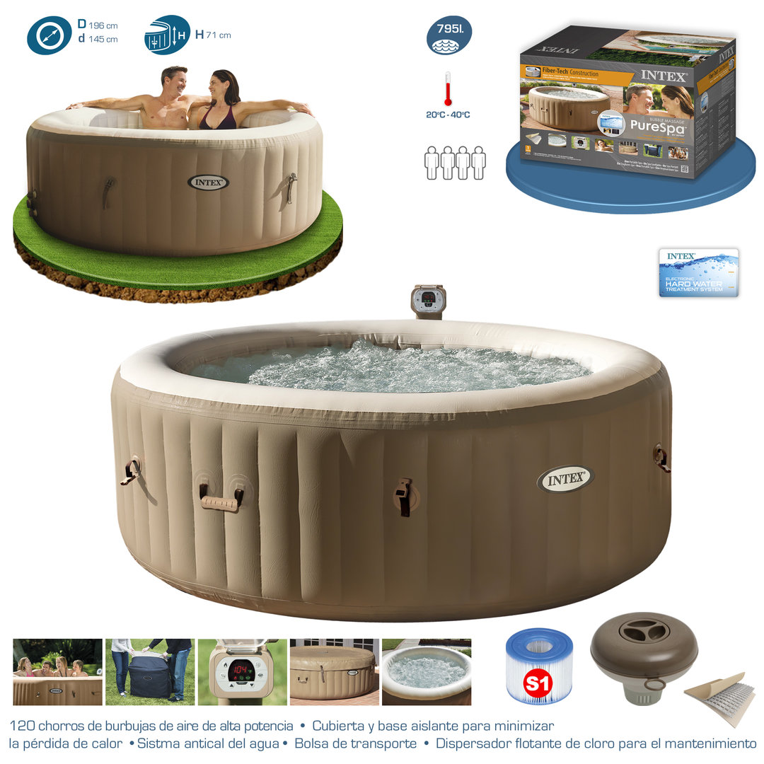 purespa spa circular 795l with bubbles teraphy portable spa. Black Bedroom Furniture Sets. Home Design Ideas
