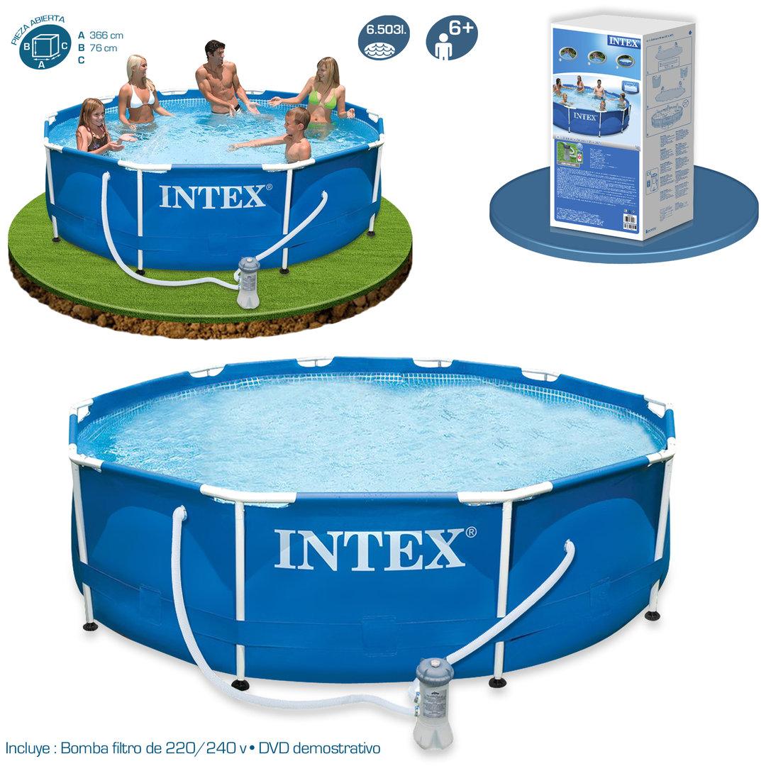 Piscina metal frame 366x76cm con depuradora piscinas for Piscinas intex modelos y precios