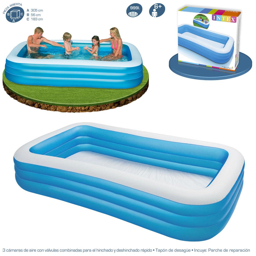 Piscina hinchable azul de 305x183x56cm piscina desmontable - Tamanos de piscinas ...