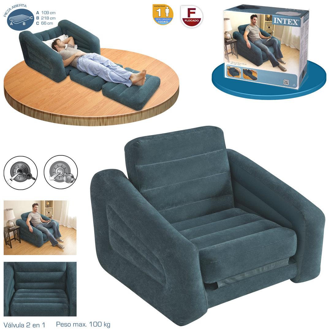 Sill n cama individual cama hinchable for Cama individual tipo sillon