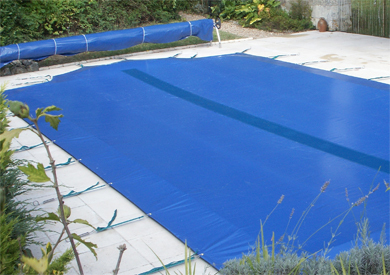 Winter pool cover blue black